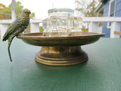 Vintage ART DECO PARROT Motif Crystal & Brass Ink Well for Fountain Pens