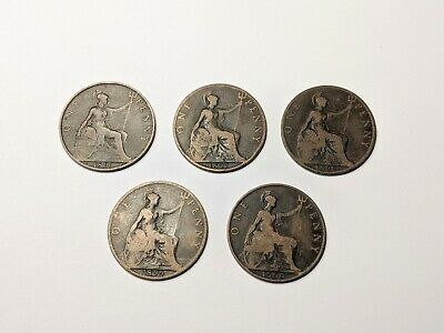 Queen Victoria Penny Coins 1896/1897/1898/1899/1900 Free UK P&P 5 Coins