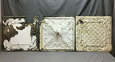 """Lot of 3 Antique Tin Metal Ceiling 24""""x24"""" Crafts Art Projects Vtg 266-20B"""