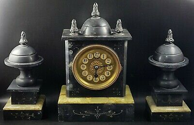 Antique Victorian Black Slate & Green Onyx Clock With Urn Garnitures For Repair