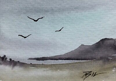 ACEO ATC original art miniature painting ' Birds over Beach ' by Bill Lupton