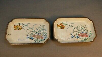 Antique Late 19th Early 20th c. painted Enamel  Metal trays w/ Ducks 10cm