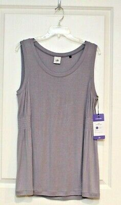 CABI Womens Top Size Large NEW Huddle Tank Gray Vivid Violet Sleeveless Pullover