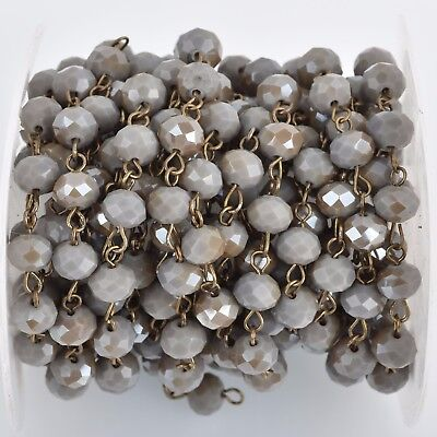 1yd Mushroom GRAY Crystal Rondelle Rosary Chain, bronze, 8mm beads fch0810a