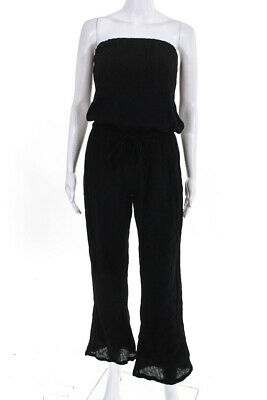 Soft Joie Womens Strapless Wide Leg Belted Jumpsuit Black Cotton Size Small