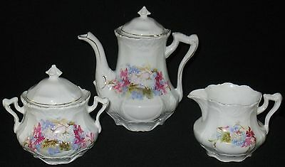 Antique Hand Decorated Floral Tea Set 3-Pc Embossed Bulbous Scalloped Gold Trim