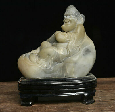 Old Chinese White Shoushan Stone Carved Kind God Mad Monk Ji Gong Buddha Statue