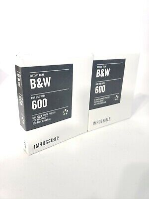 2x Impossible Project 600 Black White Film Camera Instant Lab Polaroid 03/16 Ex