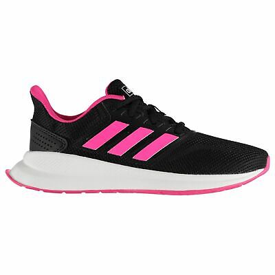 adidas Falcon Trainers Junior Girls Black/Pink/White Shoes Footwear