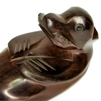 "Otter Carved Wood Floating on His Back Dark Wood Tip to Tip Approx 10"" Long"