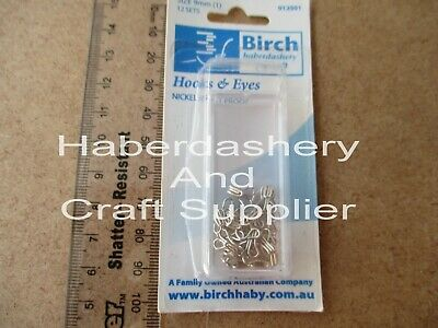 Birch Hooks And Eyes 12 Sets Per 1 Packet Rust Proof Silver Nickel 9Mm (1)