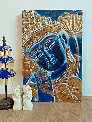 New Hand Carved Buddha Wood Wall Hanging Art Feng Shui