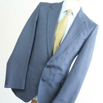 Hardy Amies Mens Blue Suit 40/38 Regular Single Breasted Wool Blend Striped