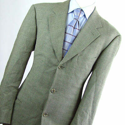 Hugo Boss Mens Green Textured Wool Suit Jacket 42 (Regular)
