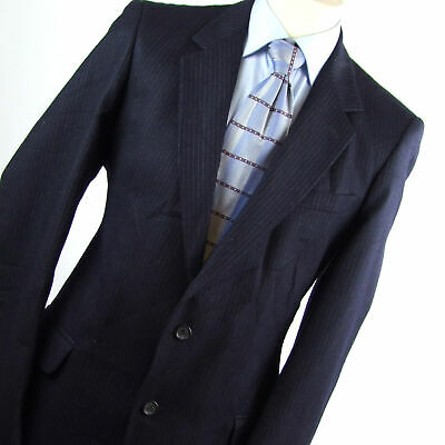Hardy Amies Mens Blue Striped Wool Suit Jacket 42 (Long)