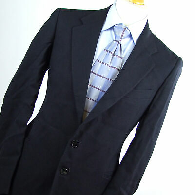 Hardy Amies Mens Blue Textured Wool Blend Suit Jacket Size 40