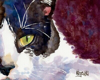 Tuxedo Cat 11x14 signed art PRINT from painting RJK