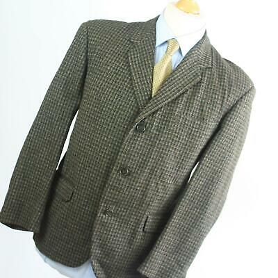 Hardy Amies Mens Vintage Green Geometric Wool Blend Suit Jacket 38 Chest (Short)