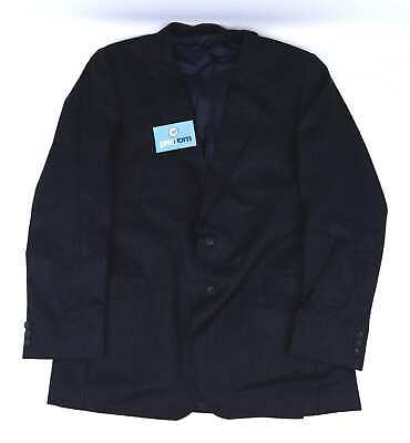 Austin Reed Mens Wool Striped Blue Suit Jacket 40 Chest (Long)