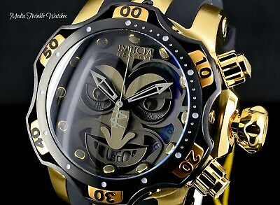 NEW 52MM Invicta Reserve VENOM JOKER DC SWISS Quartz Black & Gold Band Watch !
