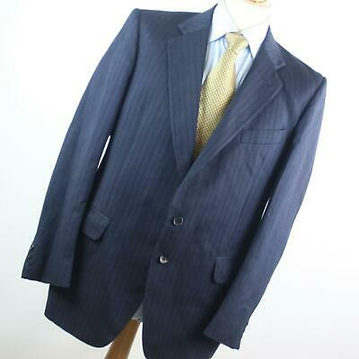 Hardy Amies Mens Blue Striped Wool Blend Single Breasted Suit 40/34 (Regular)