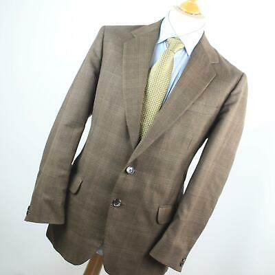 Hardy Amies Mens Brown Check Wool Blend Single Breasted Suit 40/38 (Short)