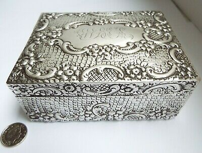 Beautiful Large Decorative English Antique Victorian 1901 Solid Silver Jewel Box