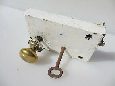Large Antique Iron Door Lock Brass Knobs Handles Victorian Old Bolt Key Vintage