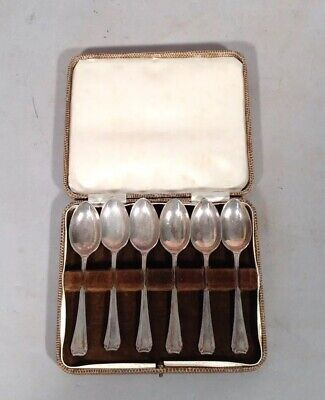 Antique Vintage Boxed Set of 6 English Sterling Silver Hallmark Demitasse Spoons