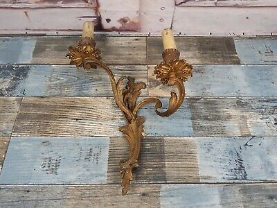 Vintage Antique French Rococo Gilt Bronze Brass 2 Arm Wall Sconce Light