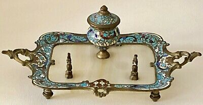 Antique French Champleve Enamel Writing Desk Inkwell And Pen Tray Bronze Onyx