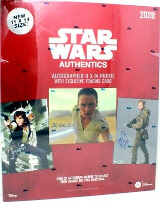 2020 Topps Star Wars Authentics 11X14 Photo & Trading Card Box Blowout Cards