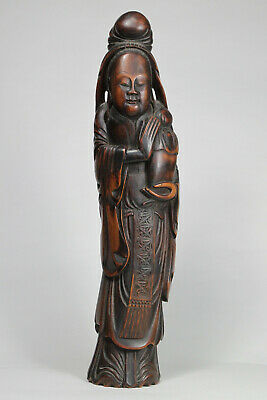 Antique Chinese Qing Dynasty 19th Century Carved Bamboo Figure Lady FINE