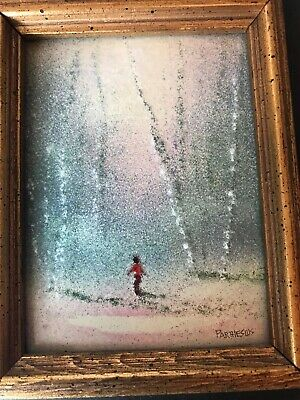 Charles Parthesius American Enamel on Copper Framed Paintings Signed