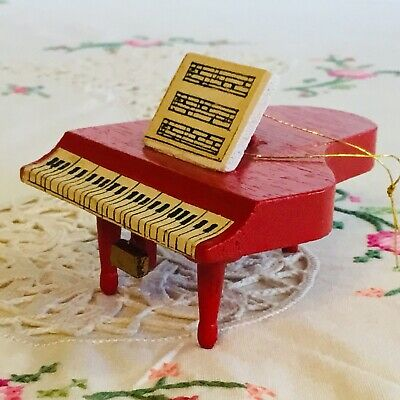 """Vintage Wooden Red Piano Christmas Ornament Hand Painted Taiwan Mid Century 3"""""""