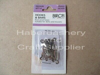 Birch Hooks And Bars Metal Medium Silver 4 Sets Per 1 Packet