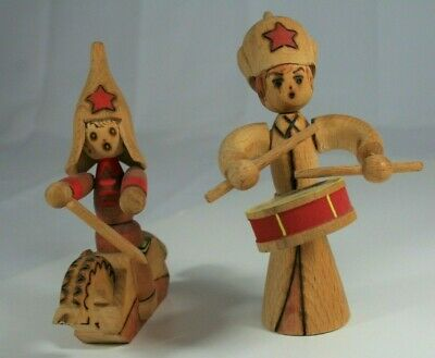 Hand Carved Wood Horse Soldier and Drummer Russian USSR Vintage