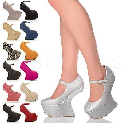 Womens Ladies High Heelless Wedge Platform Mary Jane Pony Court Shoes Size 4 37