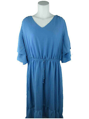 NY Collection Plus Women 1X Layered Sleeves Sheer Stretch Waist Blue Shift Dress
