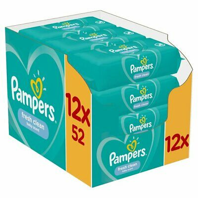 PAMPERS ✅ Fresh Clean BABY WIPES 12 packs x 52 wipes * TOTAL 624 wipes
