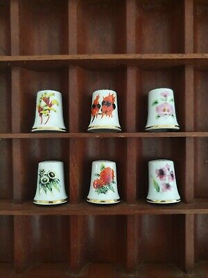 Set of 6 Porcelain Thimbles of Official Flowers for Australian States