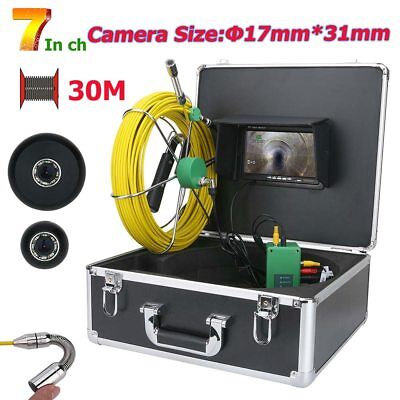 "50M Cable 7""LCD 1000 TVL 17mm Drain Pipe Sewer Inspection Video Camera System US"