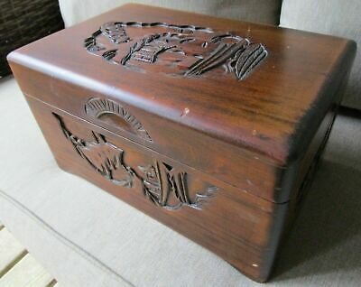 Vintage Weathered Chinese Camphor? Wood Box Hand Carved Pagoda Asian
