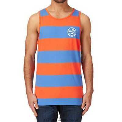 Vans Off The Wall Men's Bidwell Stripe Tank Top Tee T-Shirt - Orange/Blue