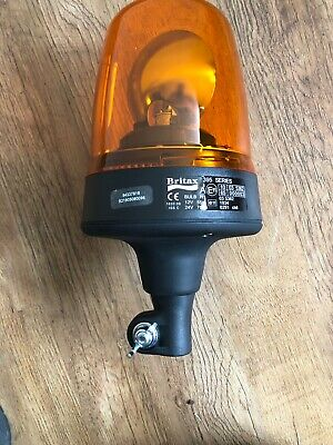 Britax Rescue DIN Pole Mount Agriculture Halogen Rotating Flashing Amber Beacon
