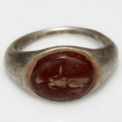 A Perfect Roman Silver Seal Ring With Gemstone Circa 100-400 Ad
