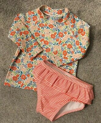 🌸BABY BODEN Girls Swimsuit Top + Bottoms Floral Striped Age 3-6 Months🌸