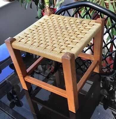 Vintage Mid Century WOVEN String Topped Small Wooden Stool Retro CHILDS STOOL