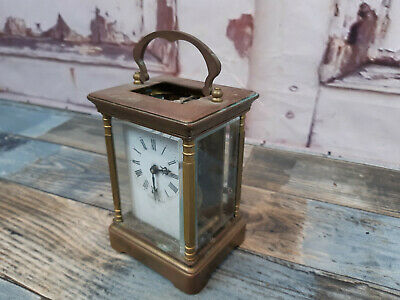 Antique Vintage French Brass Glass Carriage Clock Made In France With Key