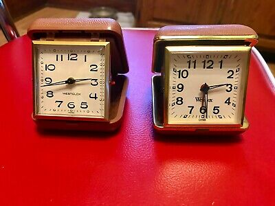 Lot of 2 Vintage Wesclox Travel Alarm Clock in Compact Case Tan